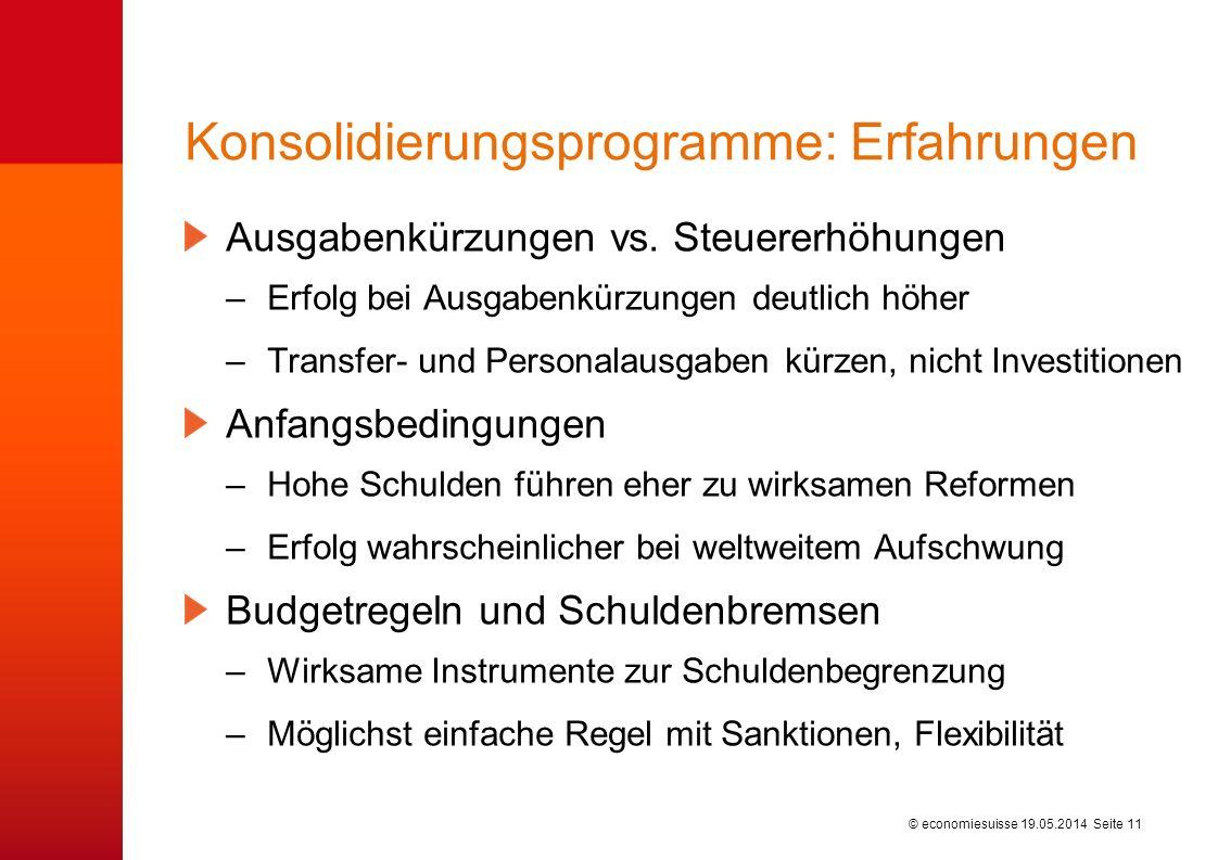 © economiesuisse Konsolidierungsprogramme: Erfahrungen Ausgabenkürzungen vs.