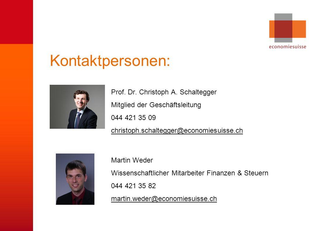 © economiesuisse Kontaktpersonen: Prof. Dr. Christoph A.