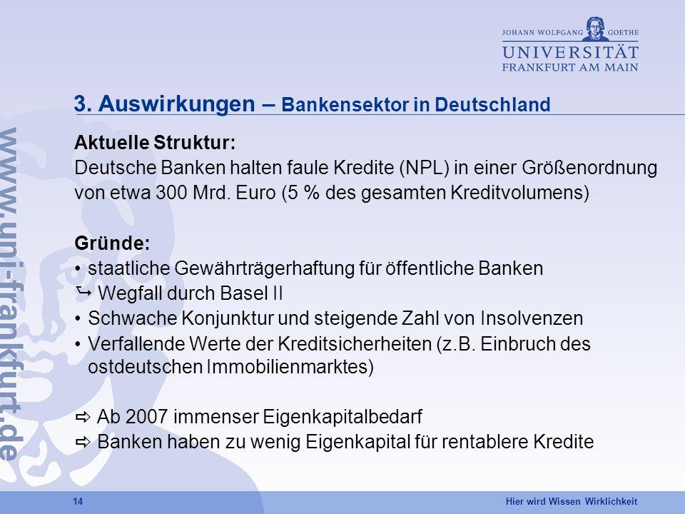 Hier wird Wissen Wirklichkeit 14 3. Auswirkungen – Bankensektor in Deutschland Aktuelle Struktur: Deutsche Banken halten faule Kredite (NPL) in einer
