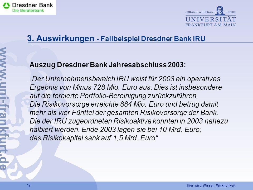 Hier wird Wissen Wirklichkeit 17 3. Auswirkungen - Fallbeispiel Dresdner Bank IRU Auszug Dresdner Bank Jahresabschluss 2003: Der Unternehmensbereich I