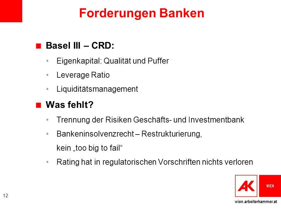 wien.arbeiterkammer.at Forderungen Banken Basel III – CRD: Eigenkapital: Qualität und Puffer Leverage Ratio Liquiditätsmanagement Was fehlt? Trennung