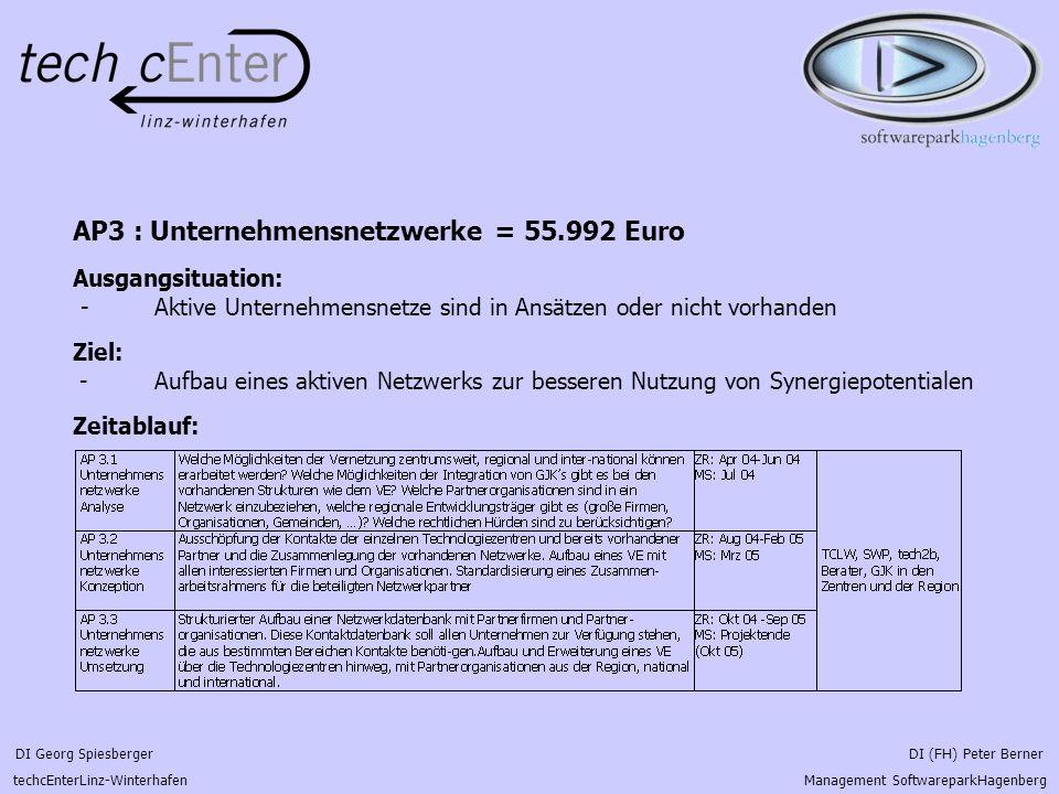 DI Georg Spiesberger DI (FH) Peter Berner techcEnterLinz-Winterhafen Management SoftwareparkHagenberg AP3 : Unternehmensnetzwerke = 55.992 Euro Ausgan