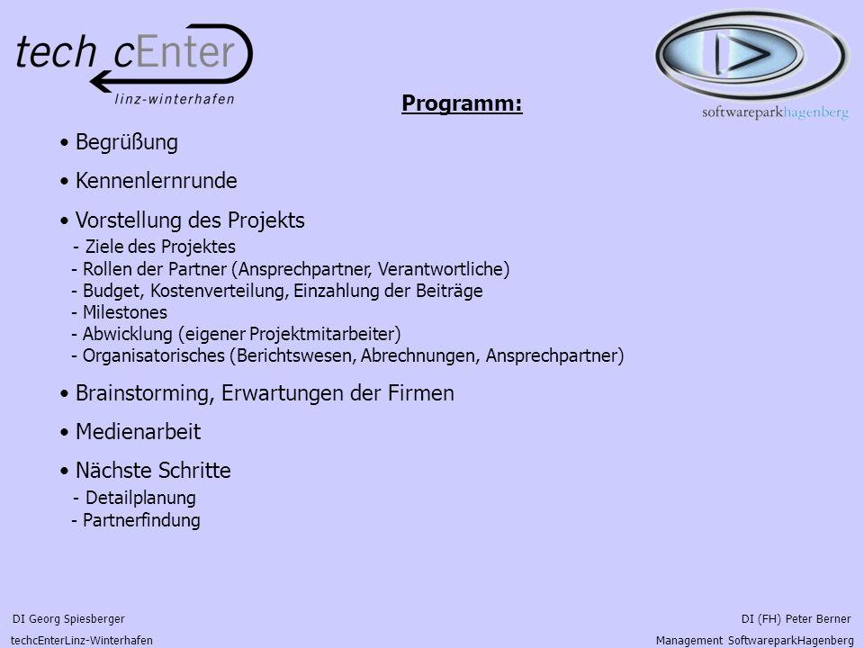 DI Georg Spiesberger DI (FH) Peter Berner techcEnterLinz-Winterhafen Management SoftwareparkHagenberg Programm: Begrüßung Kennenlernrunde Vorstellung