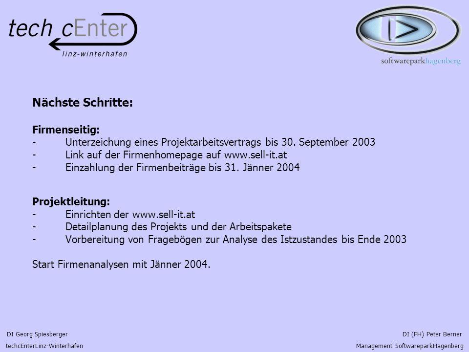 DI Georg Spiesberger DI (FH) Peter Berner techcEnterLinz-Winterhafen Management SoftwareparkHagenberg Nächste Schritte: Firmenseitig: - Unterzeichung eines Projektarbeitsvertrags bis 30.