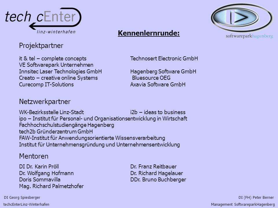 DI Georg Spiesberger DI (FH) Peter Berner techcEnterLinz-Winterhafen Management SoftwareparkHagenberg Projektvorstellung: Projektbeschreibung: - Problem von GJK`s innovative Produkte geeignet zu vermarkten - zu geringes Marketing- und Vertriebsbudget - aufgrund großteils technischer Ausbildung fehlt das Know-How für MV - Marktbearbeitung für neue Produkte wesentlich schwieriger