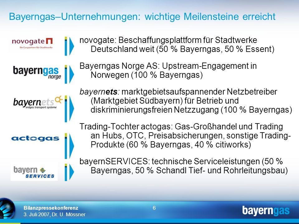 6 3. Juli 2007, Dr. U. Mössner Bilanzpressekonferenz novogate: Beschaffungsplattform für Stadtwerke Deutschland weit (50 % Bayerngas, 50 % Essent) Bay