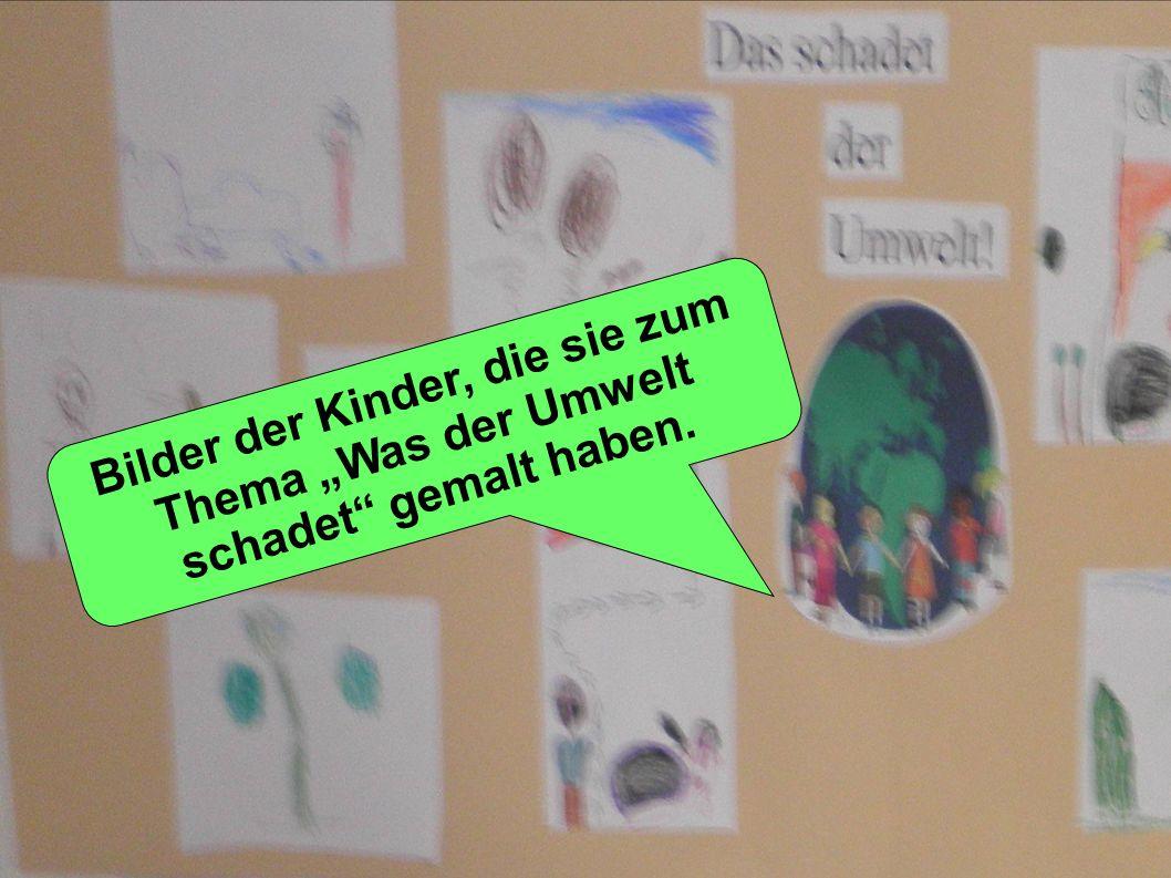Bilder der Kinder, die sie zum Thema Was der Umwelt schadet gemalt haben.