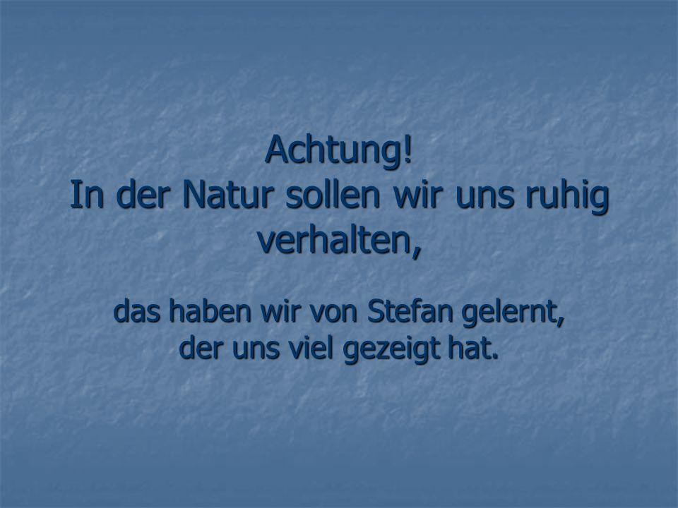 Achtung! In der Natur sollen wir uns ruhig verhalten, das haben wir von Stefan gelernt, der uns viel gezeigt hat.