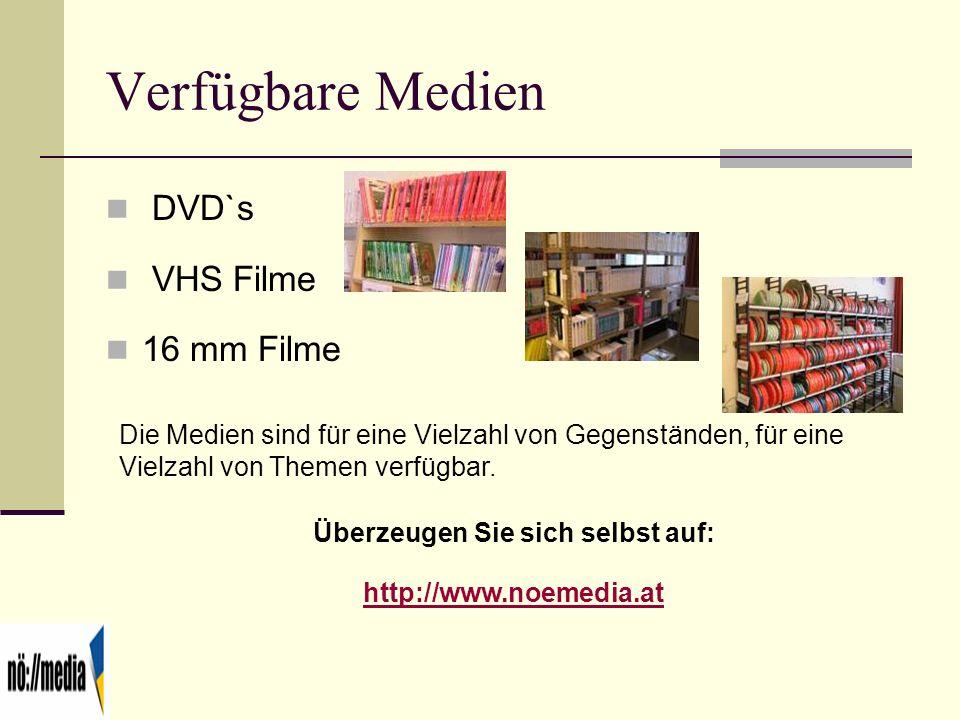 Verfügbare Medien DVD`s VHS Filme 16 mm Filme Die Medien sind für eine Vielzahl von Gegenständen, für eine Vielzahl von Themen verfügbar. Überzeugen S