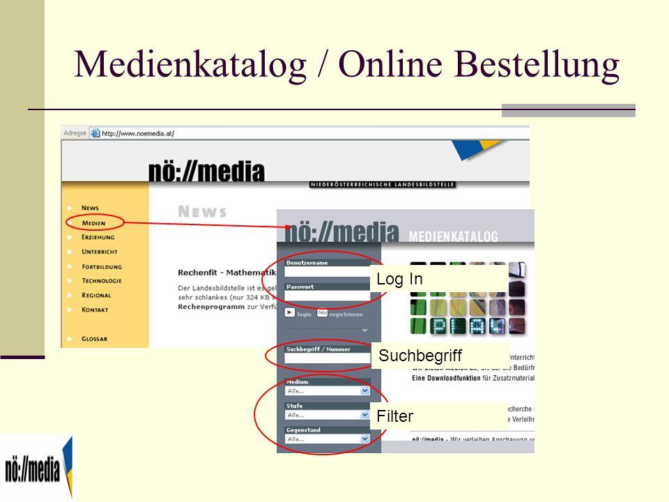 Medienkatalog / Online Bestellung Log In Suchbegriff Filter