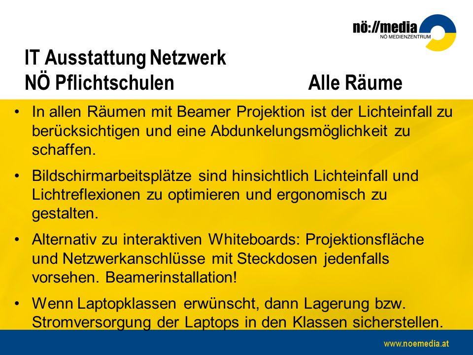www.noemedia.at IT Ausstattung Netzwerk NÖ PflichtschulenAlle Räume In allen Räumen mit Beamer Projektion ist der Lichteinfall zu berücksichtigen und eine Abdunkelungsmöglichkeit zu schaffen.