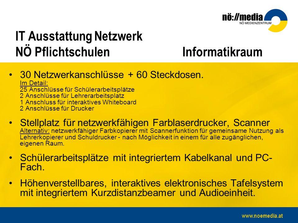 www.noemedia.at IT Ausstattung Netzwerk NÖ Pflichtschulen Informatikraum 30 Netzwerkanschlüsse + 60 Steckdosen.