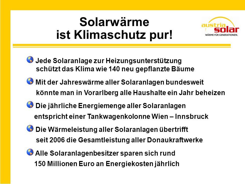 Solarwärme ist Klimaschutz pur! Jede Solaranlage zur Heizungsunterstützung schützt das Klima wie 140 neu gepflanzte Bäume Mit der Jahreswärme aller So