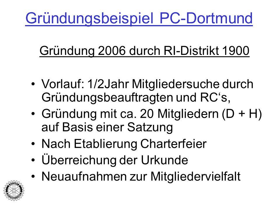 Gründungsbeispiel PC-Dortmund Gründung 2006 durch RI-Distrikt 1900 Vorlauf: 1/2Jahr Mitgliedersuche durch Gründungsbeauftragten und RCs, Gründung mit