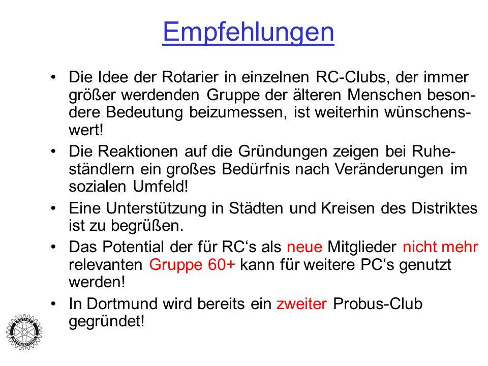 Empfehlungen Die Idee der Rotarier in einzelnen RC-Clubs, der immer größer werdenden Gruppe der älteren Menschen beson- dere Bedeutung beizumessen, ist weiterhin wünschens- wert.