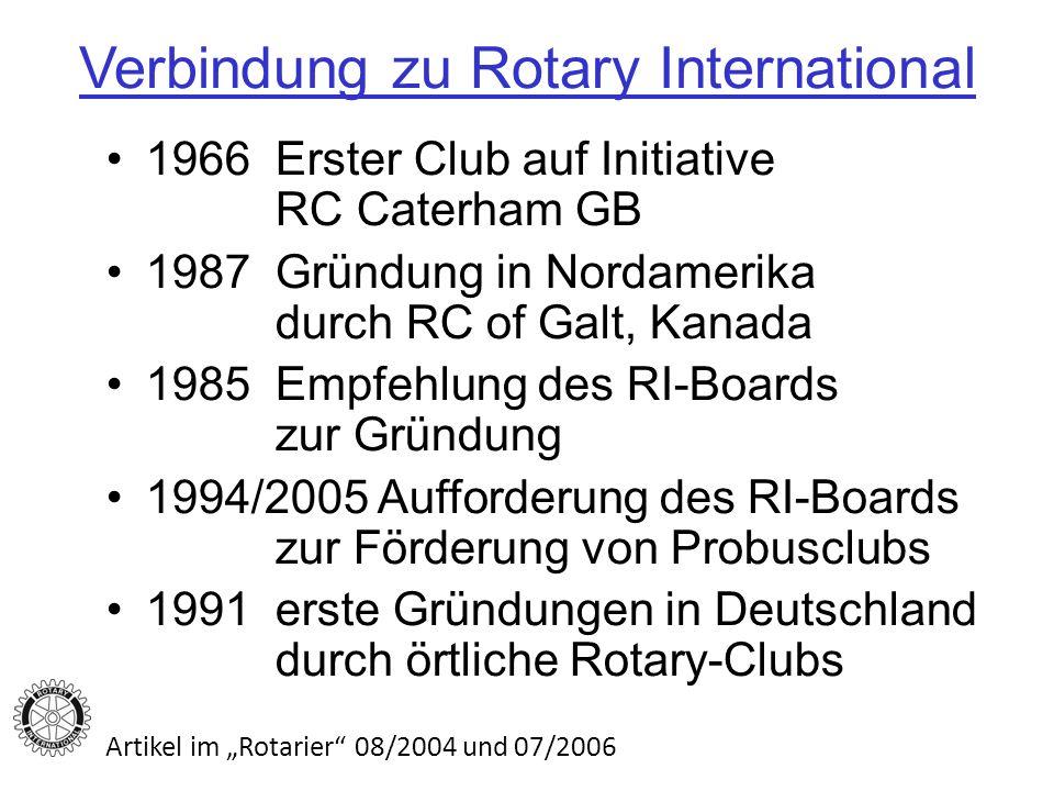 Verbindung zu Rotary International 1966 Erster Club auf Initiative RC Caterham GB 1987 Gründung in Nordamerika durch RC of Galt, Kanada 1985 Empfehlung des RI-Boards zur Gründung 1994/2005 Aufforderung des RI-Boards zur Förderung von Probusclubs 1991 erste Gründungen in Deutschland durch örtliche Rotary-Clubs Artikel im Rotarier 08/2004 und 07/2006