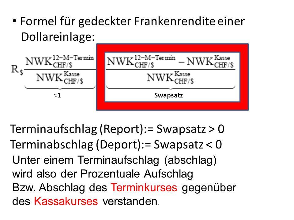 Beispiel 1: Vergleich von Anlage in CH zu Deutschland: Wechselkurse aus Tabelle: Kassa Mengennotierung: 1.5188 CHF/EuroKassa Preisnotierung: 0.6584 Euro/CHF 12 M.