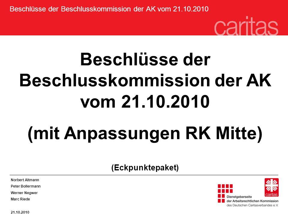 Beschlüsse der Beschlusskommission der AK vom 21.10.2010 (mit Anpassungen RK Mitte) (Eckpunktepaket) Norbert Altmann Peter Bollermann Werner Negwer Marc Riede 21.10.2010