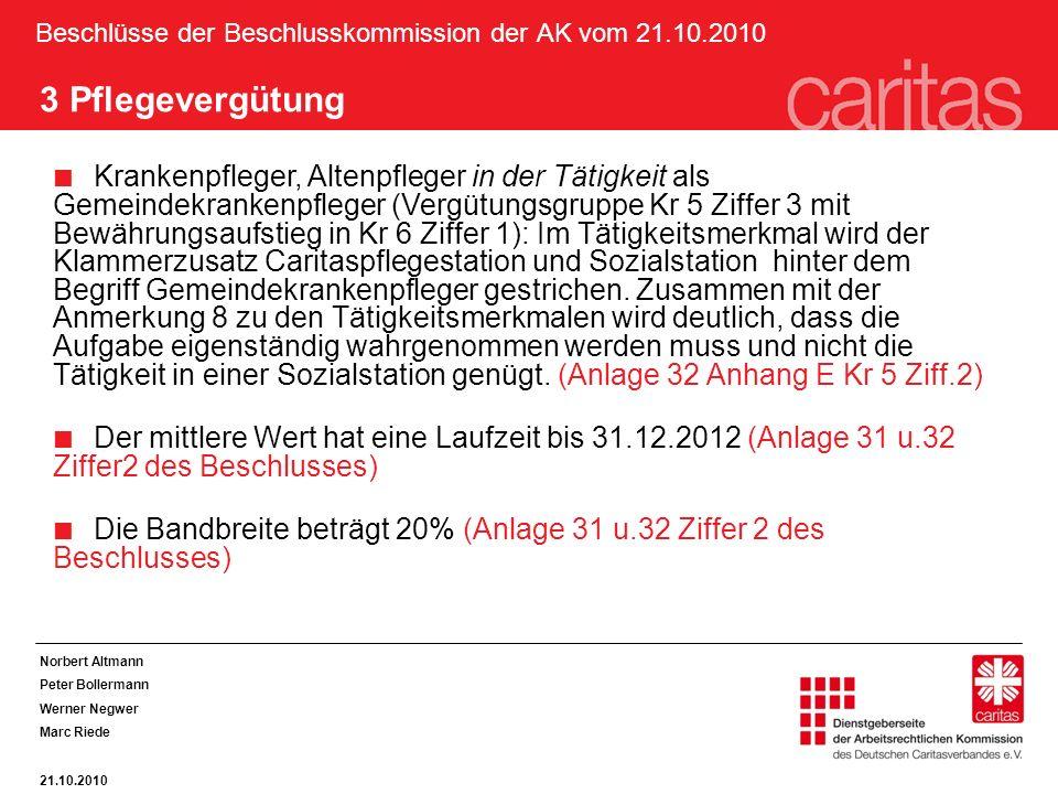 Beschlüsse der Beschlusskommission der AK vom 21.10.2010 3 Pflegevergütung Krankenpfleger, Altenpfleger in der Tätigkeit als Gemeindekrankenpfleger (V