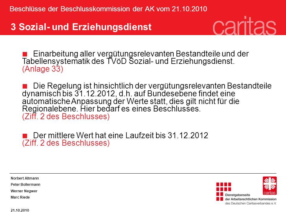 Beschlüsse der Beschlusskommission der AK vom 21.10.2010 3 Sozial- und Erziehungsdienst Einarbeitung aller vergütungsrelevanten Bestandteile und der T