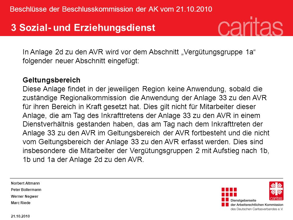Beschlüsse der Beschlusskommission der AK vom 21.10.2010 3 Sozial- und Erziehungsdienst In Anlage 2d zu den AVR wird vor dem Abschnitt Vergütungsgrupp