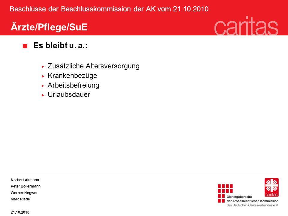 Beschlüsse der Beschlusskommission der AK vom 21.10.2010 Ärzte/Pflege/SuE Es bleibt u. a.: Zusätzliche Altersversorgung Krankenbezüge Arbeitsbefreiung