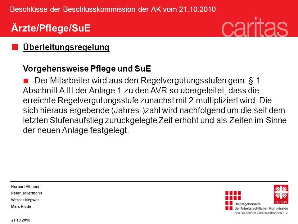 Beschlüsse der Beschlusskommission der AK vom 21.10.2010 Ärzte/Pflege/SuE Überleitungsregelung Vorgehensweise Pflege und SuE Der Mitarbeiter wird aus den Regelvergütungsstufen gem.
