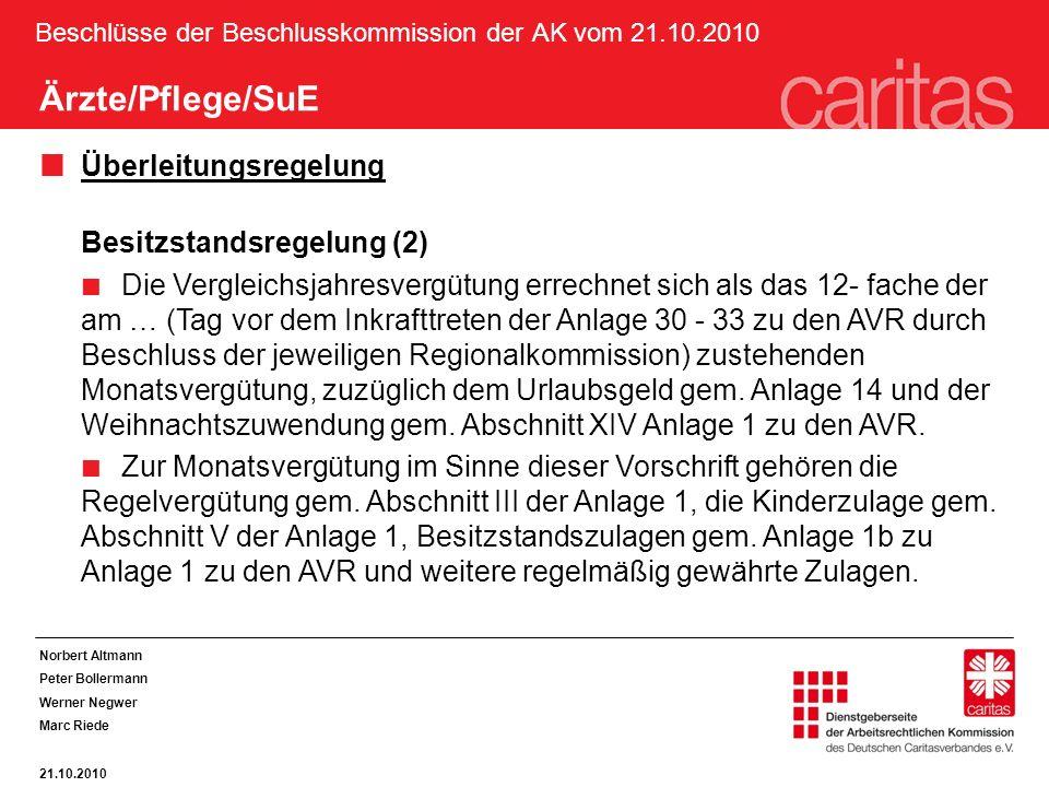 Beschlüsse der Beschlusskommission der AK vom 21.10.2010 Ärzte/Pflege/SuE Überleitungsregelung Besitzstandsregelung (2) Die Vergleichsjahresvergütung