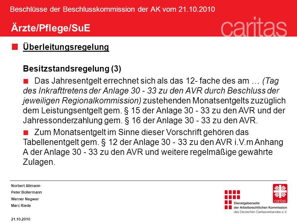 Beschlüsse der Beschlusskommission der AK vom 21.10.2010 Ärzte/Pflege/SuE Überleitungsregelung Besitzstandsregelung (3) Das Jahresentgelt errechnet sich als das 12- fache des am … (Tag des Inkrafttretens der Anlage 30 - 33 zu den AVR durch Beschluss der jeweiligen Regionalkommission) zustehenden Monatsentgelts zuzüglich dem Leistungsentgelt gem.