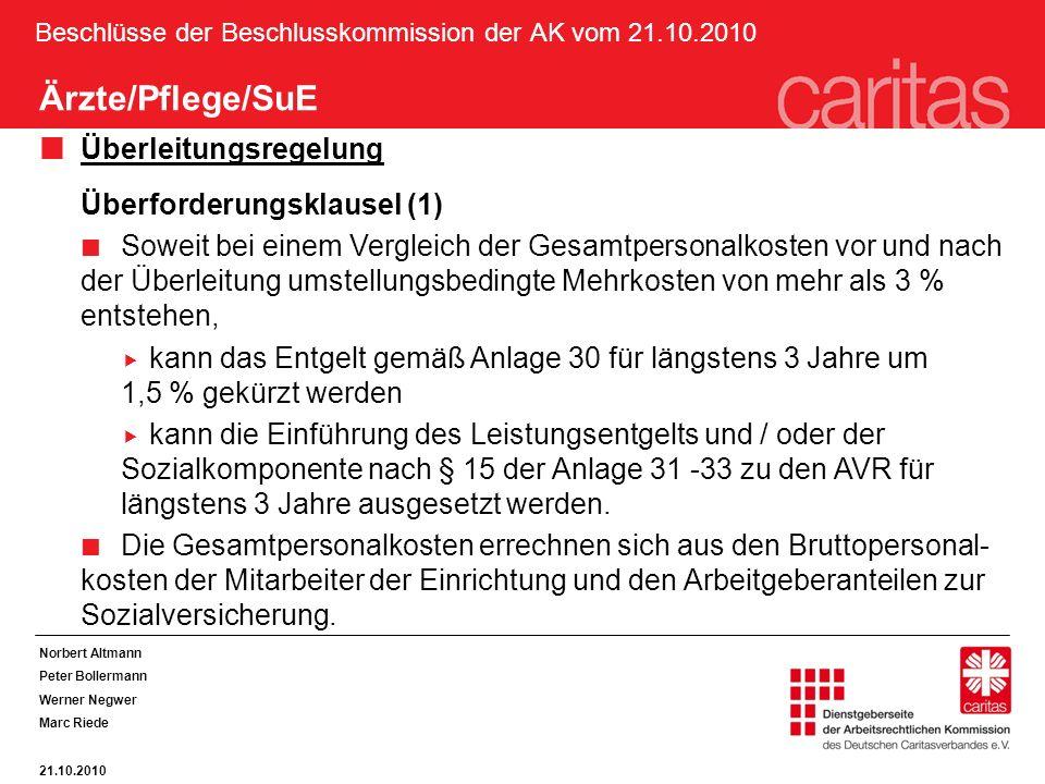 Beschlüsse der Beschlusskommission der AK vom 21.10.2010 Norbert Altmann Peter Bollermann Werner Negwer Marc Riede 21.10.2010 Ärzte/Pflege/SuE Überlei