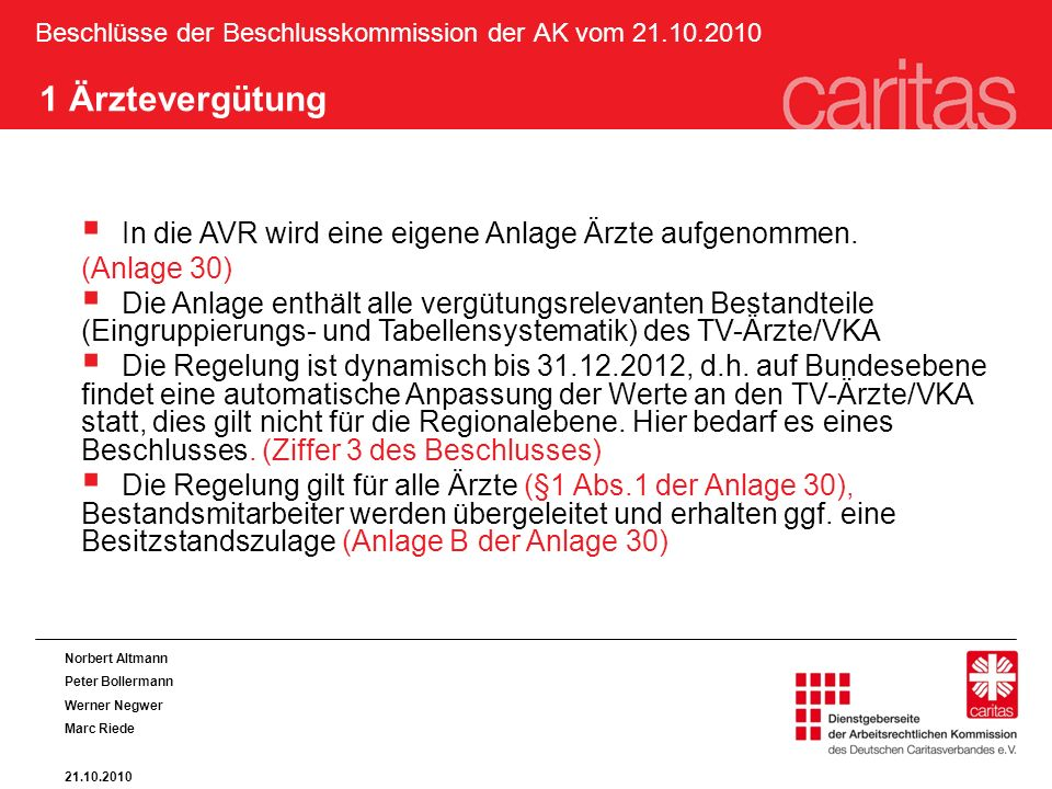 Beschlüsse der Beschlusskommission der AK vom 21.10.2010 1 Ärztevergütung In die AVR wird eine eigene Anlage Ärzte aufgenommen. (Anlage 30) Die Anlage