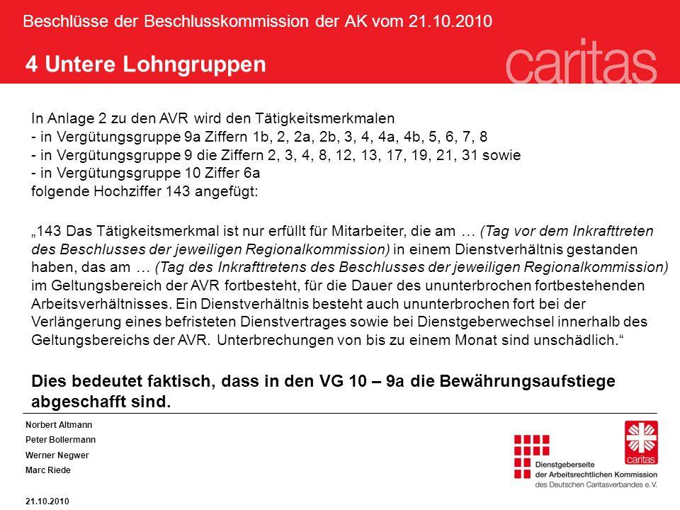 Beschlüsse der Beschlusskommission der AK vom 21.10.2010 Norbert Altmann Peter Bollermann Werner Negwer Marc Riede 21.10.2010 4 Untere Lohngruppen In