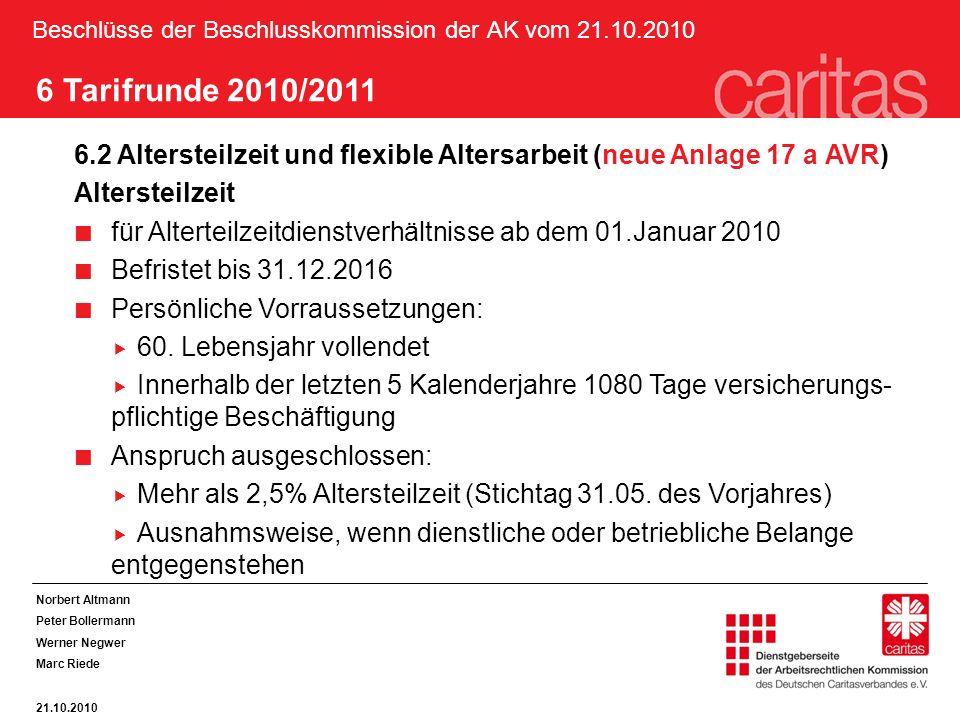 Beschlüsse der Beschlusskommission der AK vom 21.10.2010 Norbert Altmann Peter Bollermann Werner Negwer Marc Riede 21.10.2010 6 Tarifrunde 2010/2011 6