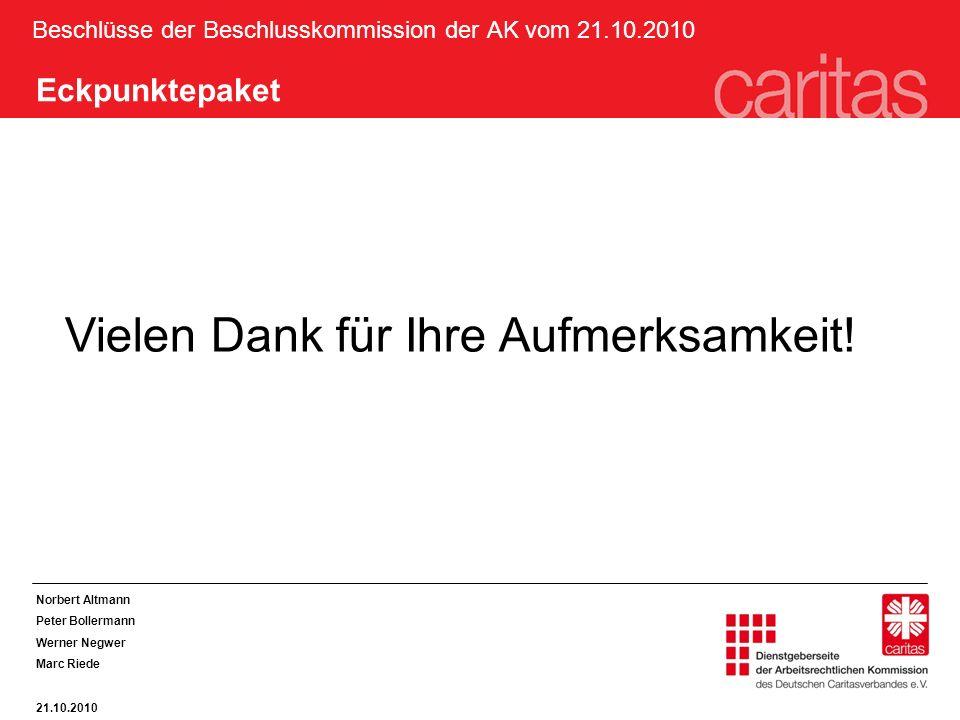 Beschlüsse der Beschlusskommission der AK vom 21.10.2010 Norbert Altmann Peter Bollermann Werner Negwer Marc Riede 21.10.2010 Eckpunktepaket Vielen Dank für Ihre Aufmerksamkeit!