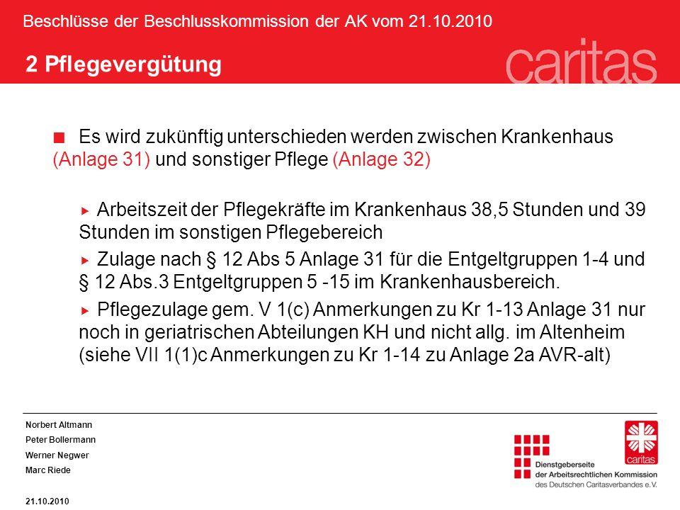 Beschlüsse der Beschlusskommission der AK vom 21.10.2010 2 Pflegevergütung Es wird zukünftig unterschieden werden zwischen Krankenhaus (Anlage 31) und