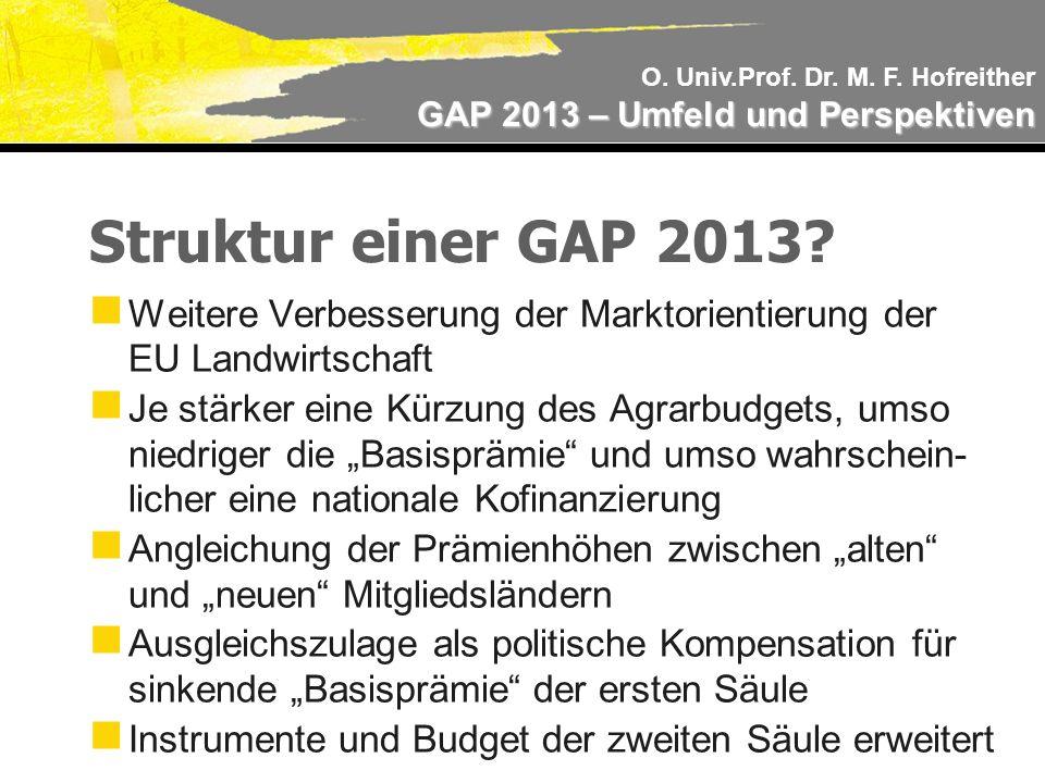 O. Univ.Prof. Dr. M. F. Hofreither GAP 2013 – Umfeld und Perspektiven Struktur einer GAP 2013.