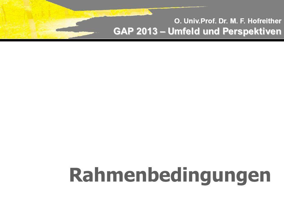 O. Univ.Prof. Dr. M. F. Hofreither GAP 2013 – Umfeld und Perspektiven Rahmenbedingungen