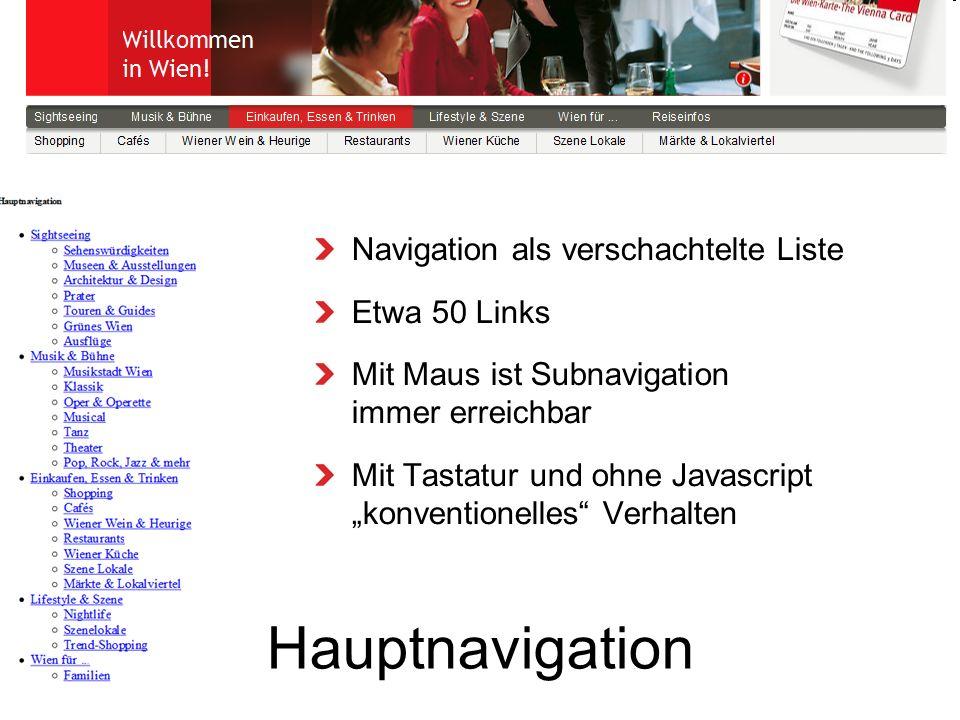 Hauptnavigation Navigation als verschachtelte Liste Etwa 50 Links Mit Maus ist Subnavigation immer erreichbar Mit Tastatur und ohne Javascript konventionelles Verhalten
