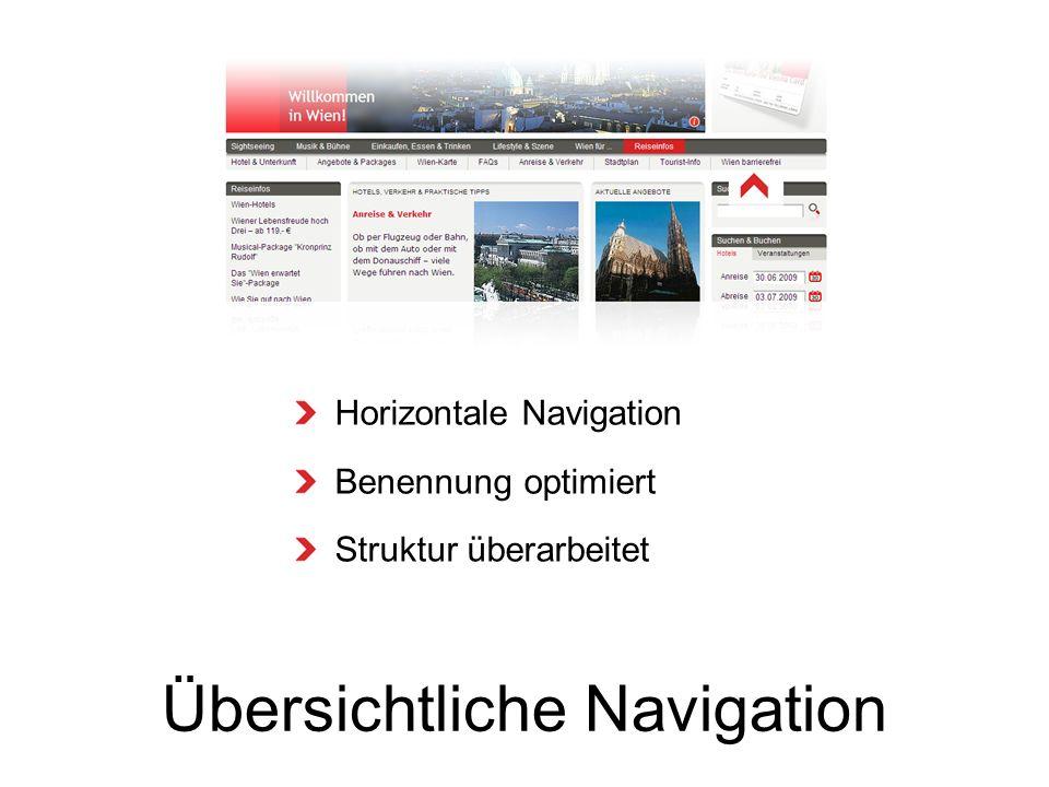 Übersichtliche Navigation Horizontale Navigation Benennung optimiert Struktur überarbeitet