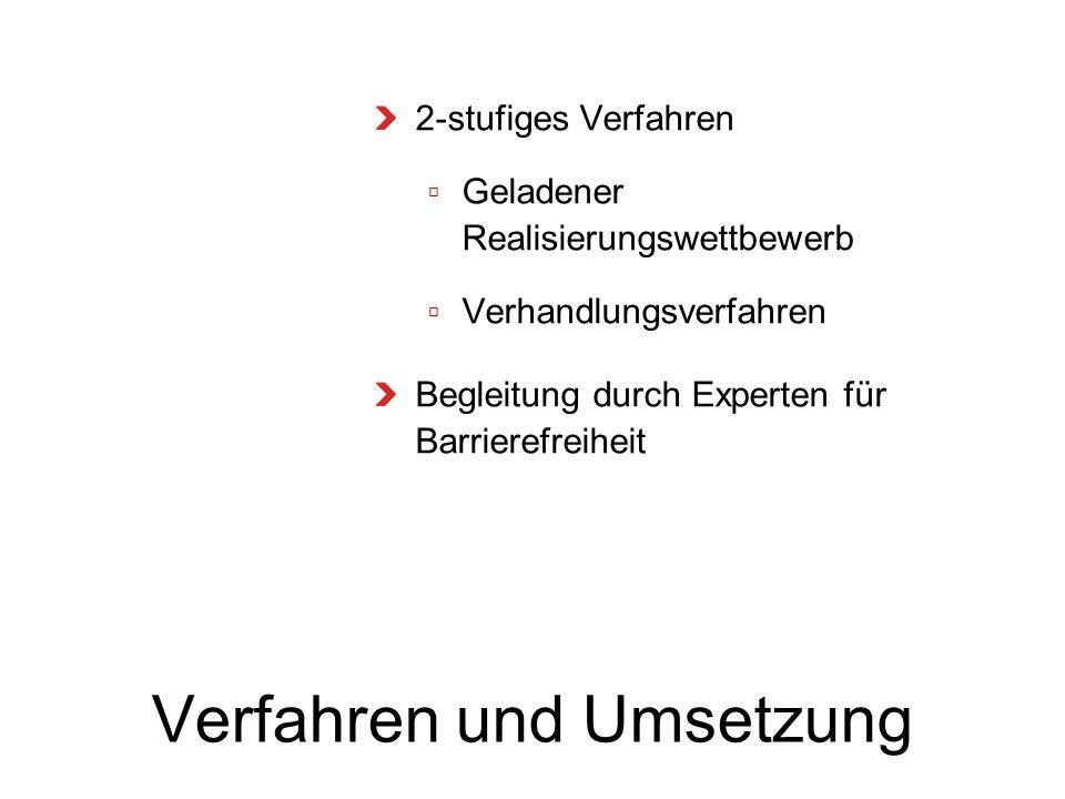 Verfahren und Umsetzung 2-stufiges Verfahren Geladener Realisierungswettbewerb Verhandlungsverfahren Begleitung durch Experten für Barrierefreiheit