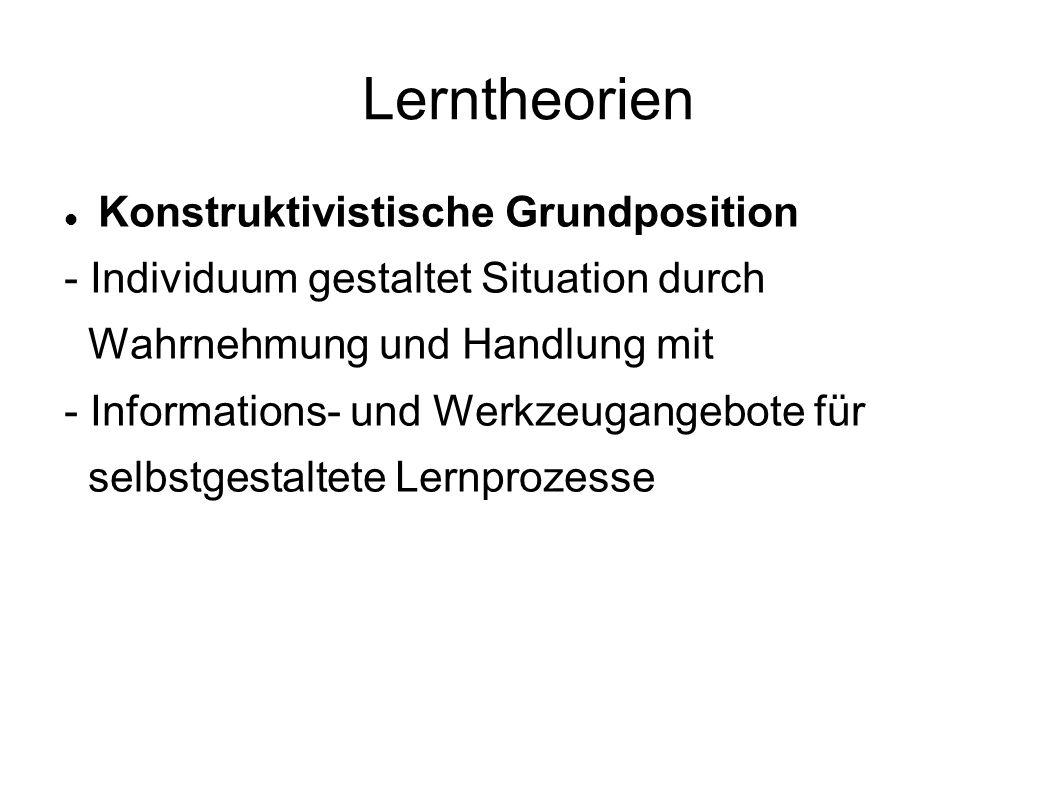 Lerntheorien Konstruktivistische Grundposition - Individuum gestaltet Situation durch Wahrnehmung und Handlung mit - Informations- und Werkzeugangebot