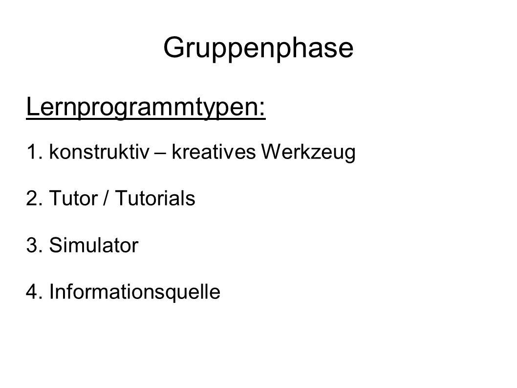 Gruppenphase Lernprogrammtypen: 1. konstruktiv – kreatives Werkzeug 2. Tutor / Tutorials 3. Simulator 4. Informationsquelle