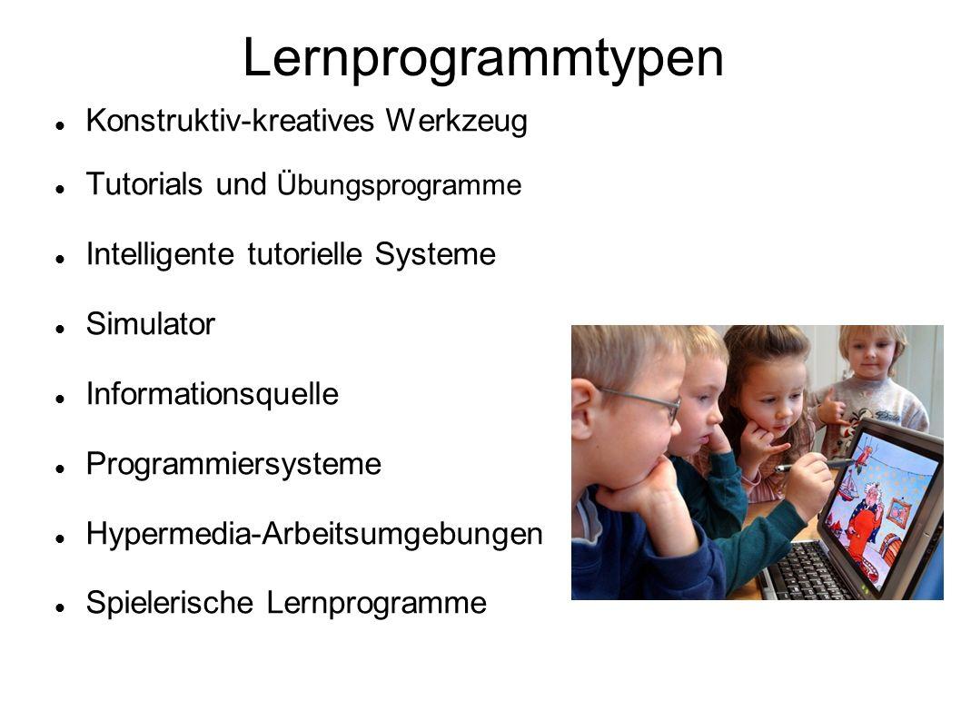 Lernprogrammtypen Konstruktiv-kreatives Werkzeug Tutorials und Übungsprogramme Intelligente tutorielle Systeme Simulator Informationsquelle Programmie