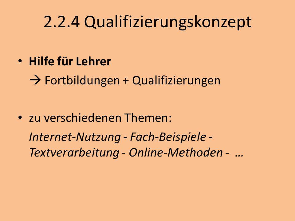 2.2.4 Qualifizierungskonzept Hilfe für Lehrer Fortbildungen + Qualifizierungen zu verschiedenen Themen: Internet-Nutzung - Fach-Beispiele - Textverarb