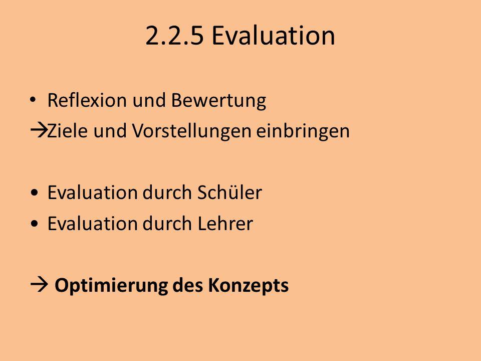 2.2.5 Evaluation Reflexion und Bewertung Ziele und Vorstellungen einbringen Evaluation durch Schüler Evaluation durch Lehrer Optimierung des Konzepts