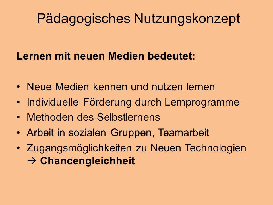 Pädagogisches Nutzungskonzept Lernen mit neuen Medien bedeutet: Neue Medien kennen und nutzen lernen Individuelle Förderung durch Lernprogramme Method