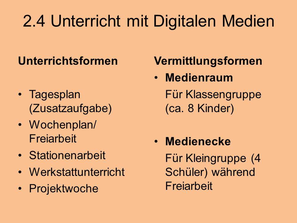 2.4 Unterricht mit Digitalen Medien Unterrichtsformen Tagesplan (Zusatzaufgabe) Wochenplan/ Freiarbeit Stationenarbeit Werkstattunterricht Projektwoch