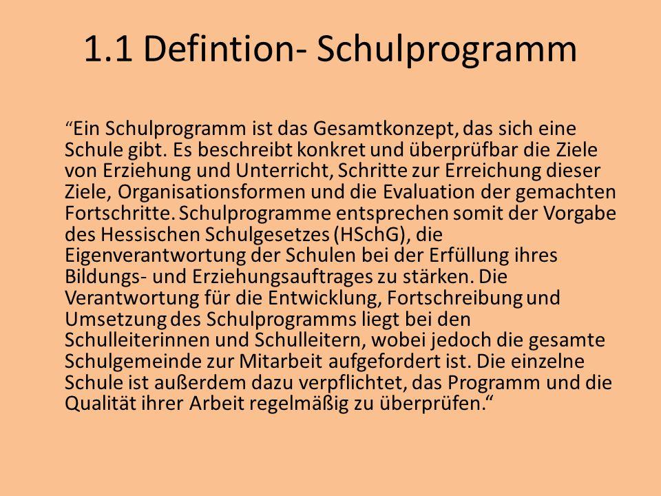 1.1 Defintion- Schulprogramm Ein Schulprogramm ist das Gesamtkonzept, das sich eine Schule gibt. Es beschreibt konkret und überprüfbar die Ziele von E