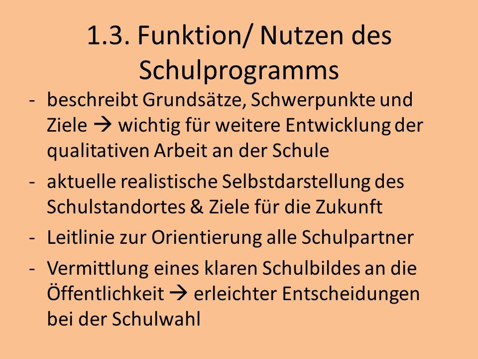 1.3. Funktion/ Nutzen des Schulprogramms -beschreibt Grundsätze, Schwerpunkte und Ziele wichtig für weitere Entwicklung der qualitativen Arbeit an der