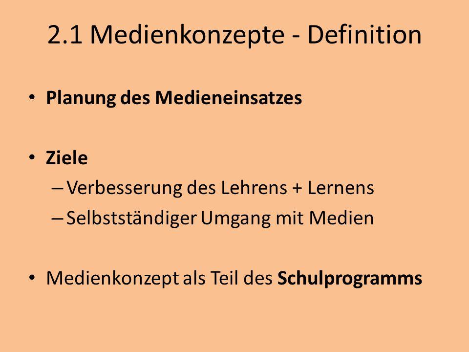 2.1 Medienkonzepte - Definition Planung des Medieneinsatzes Ziele – Verbesserung des Lehrens + Lernens – Selbstständiger Umgang mit Medien Medienkonze